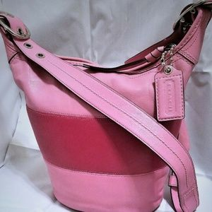 Coach 2 Tone Pinks Striped Leather Bucket Bleecker
